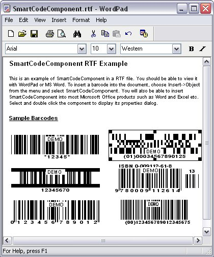 SmartCodeComponent - Add quality barcodes to Windows documents.