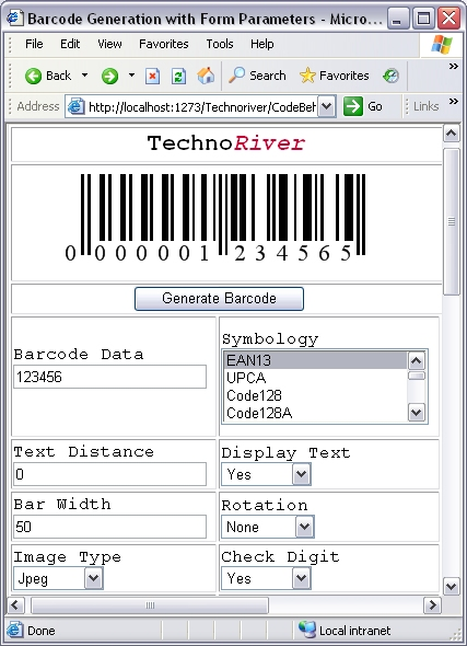 SmartCodeWebControl Screen shot