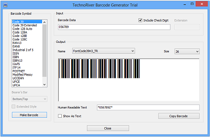 Click to view TechnoRiver Barcode Font screenshots